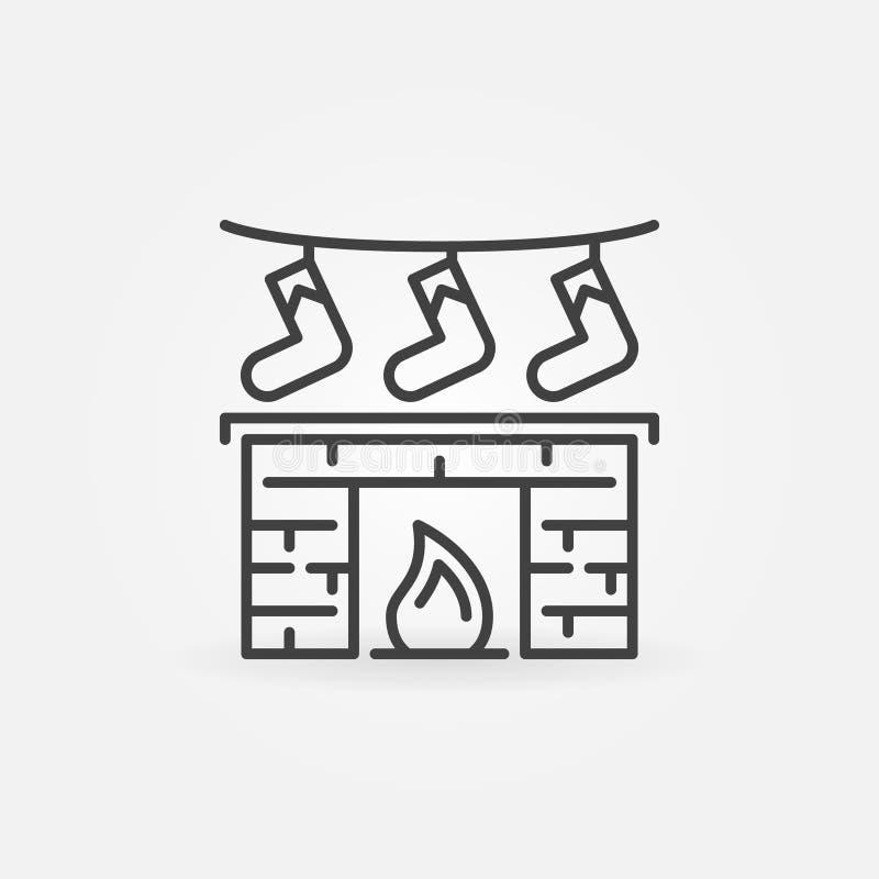 A chaminé do Natal com presentes vector o ícone na linha estilo fina ilustração do vetor