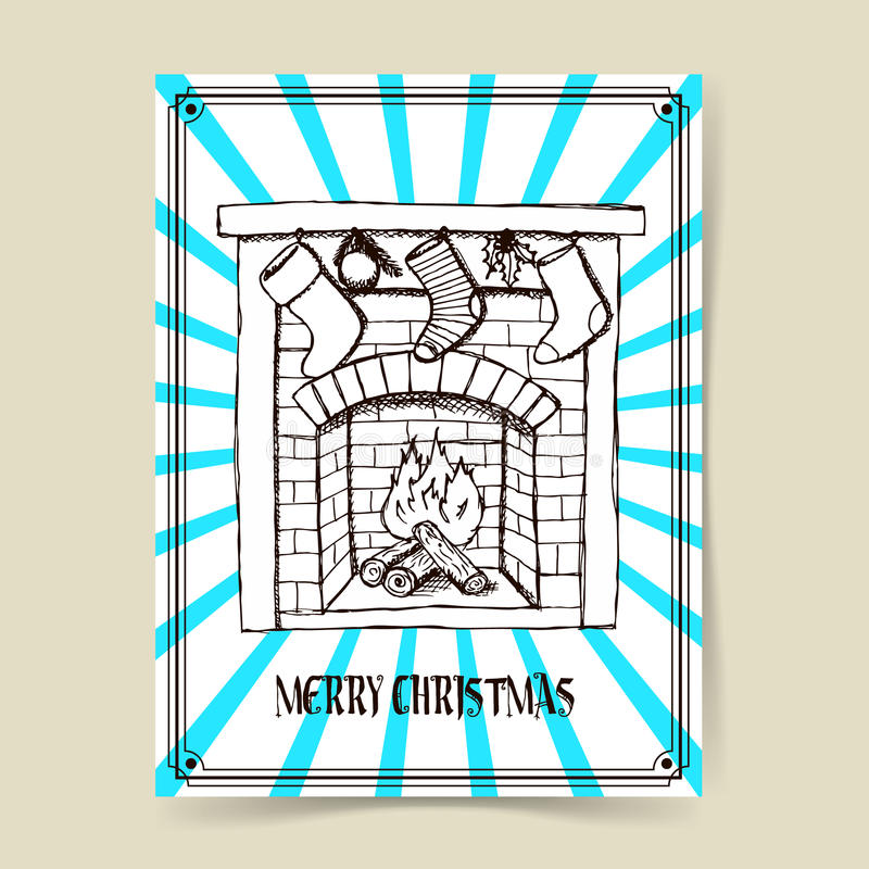 Chaminé do Natal do esboço ilustração do vetor