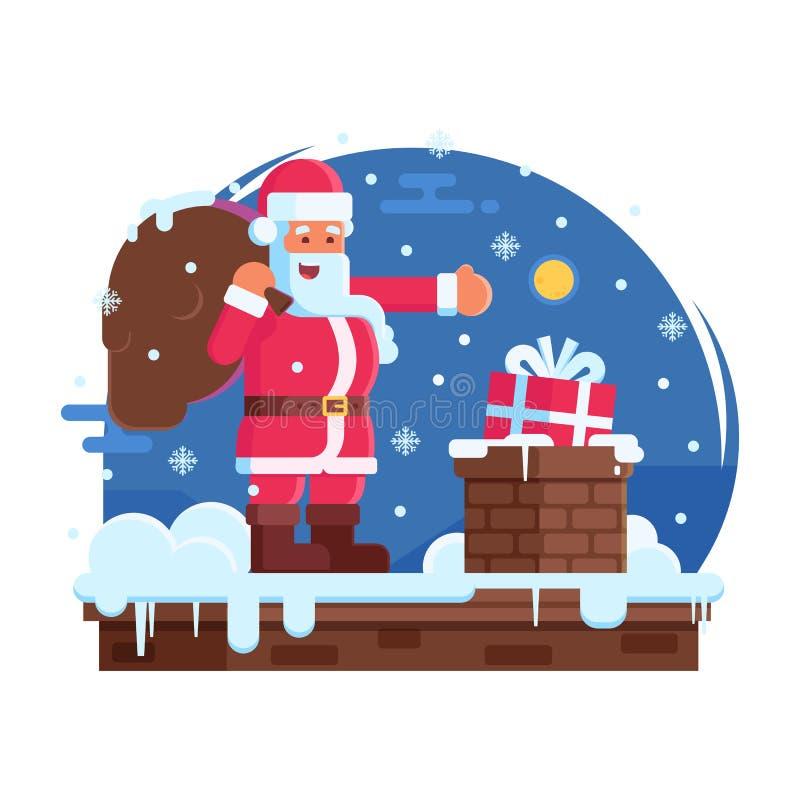 Chaminé feliz de Santa Claus e do telhado ilustração stock