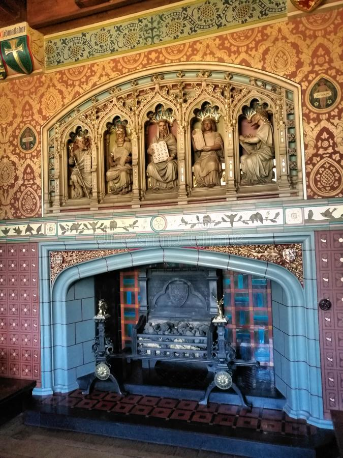 Chaminé no castelo Gales de Cardiff, Reino Unido imagens de stock