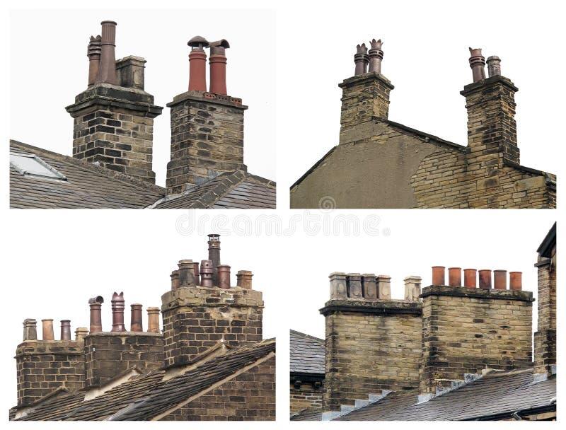Chaminés velhas do telhado fotos de stock