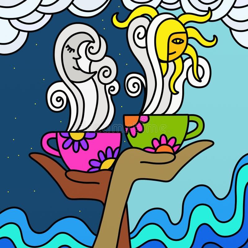 chamomile τσάι καφέ διανυσματική απεικόνιση