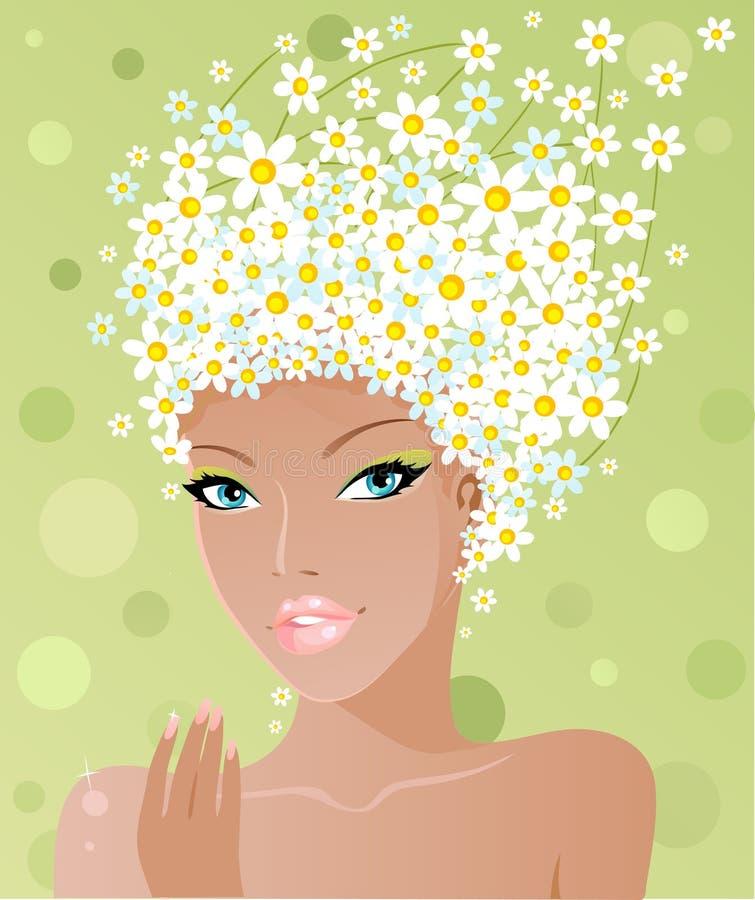 chamomile χαριτωμένο κορίτσι διανυσματική απεικόνιση