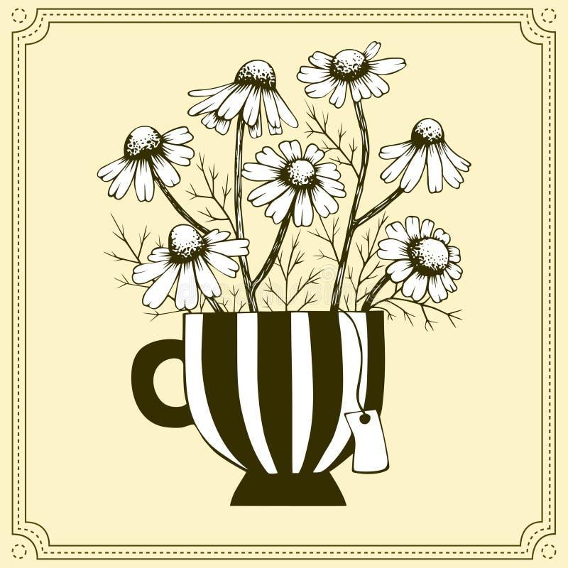 Chamomile bloemen in theebeker stock illustratie