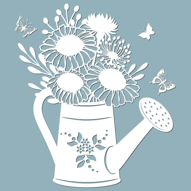 Chamomile, dandelion and stokesia in a jar of water. watering can. Vector illustration. Paper flower, stickers. Laser cut. Template for Plotter. Pattern for stock illustration
