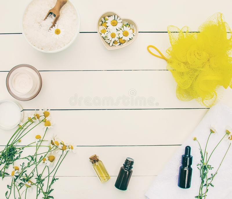 Chamomile extract in a small bottle. Selective focus royalty free stock photography