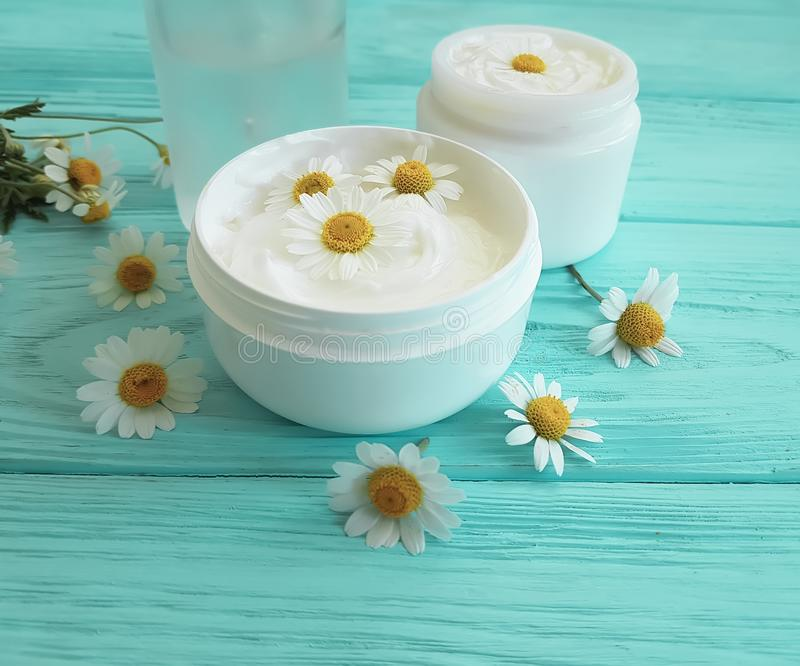 Chamomile flower, cosmetic cream on a blue wooden background royalty free stock image
