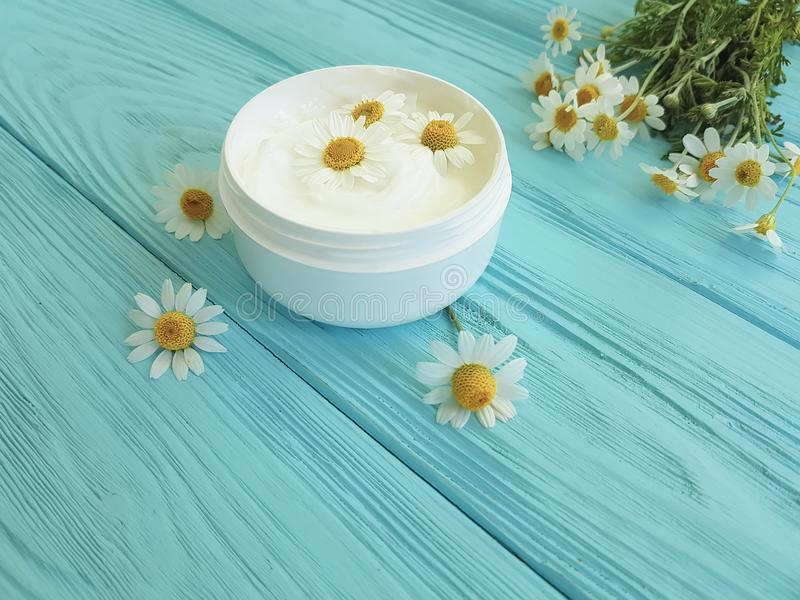 Chamomile flower, cosmetic skin cream product on a blue wooden background stock photo