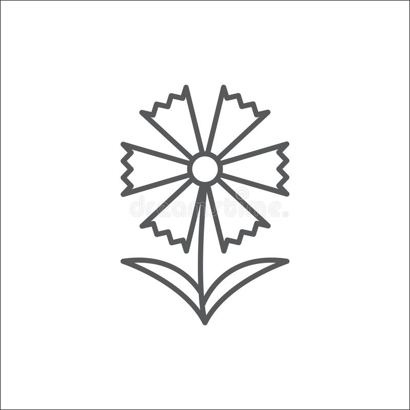Chamomile flower editable outline icon - pixel perfect symbol of daisy-like plant in thin line art style. Cornflower editable outline icon - pixel perfect stock illustration