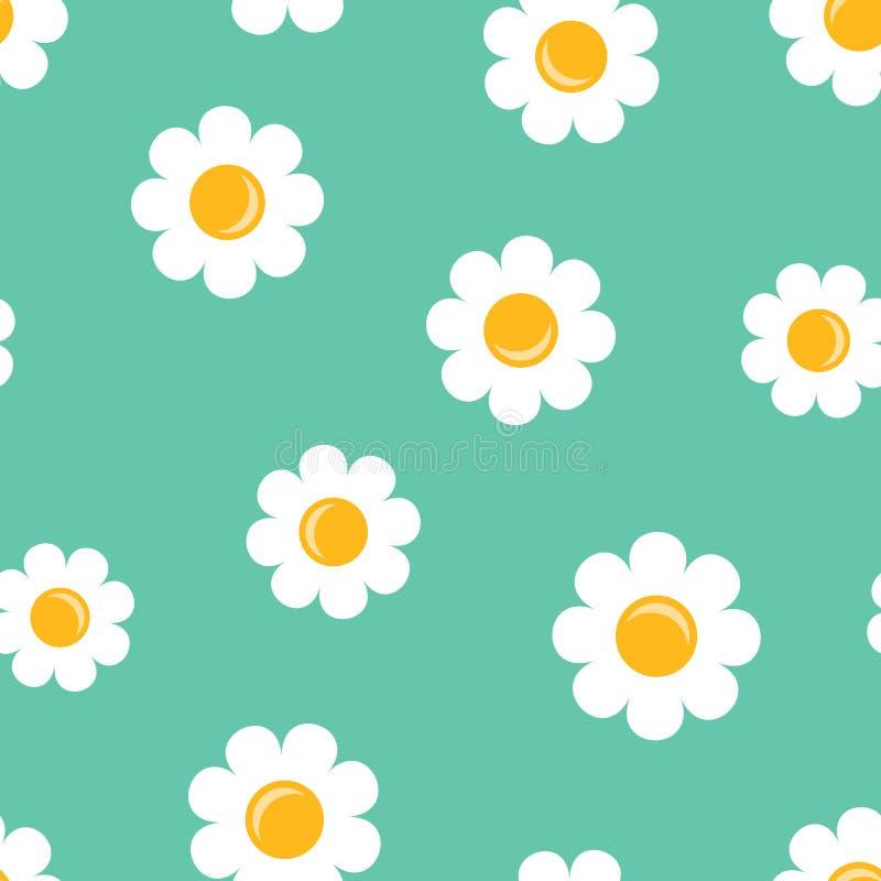 Chamomile kwiatu ikony bezszwowy deseniowy tło Biznes conc royalty ilustracja