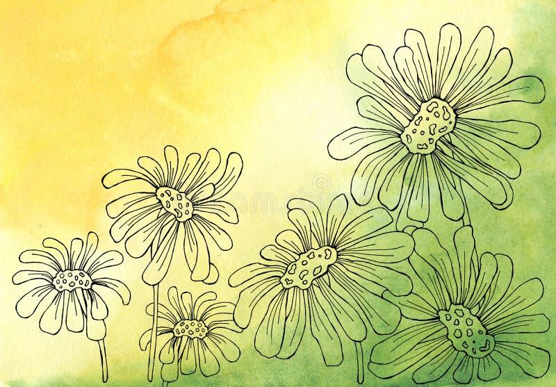 Chamomile kwitnie w grafika stylu Projekt tło, plakat, karty, powitania, śluby, zaproszenia, reklama, sztandar royalty ilustracja