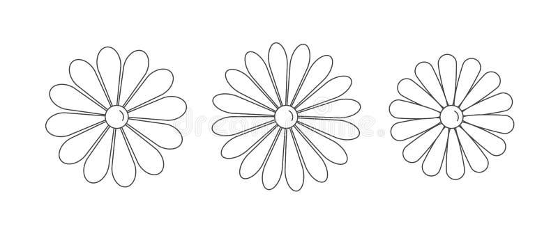 Chamomile of madeliefje bloemen, eenvoudige illustratie van het lijnpictogram van verschillende bloesoesoorten, logo-concept royalty-vrije illustratie