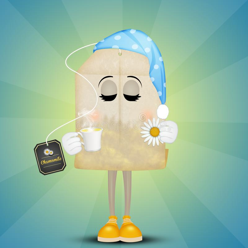 Chamomile with night cap for sleeping royalty free illustration