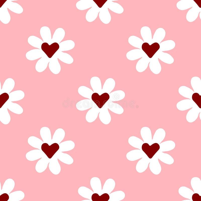 Chamomile patroon met hart op roze achtergrond stock illustratie
