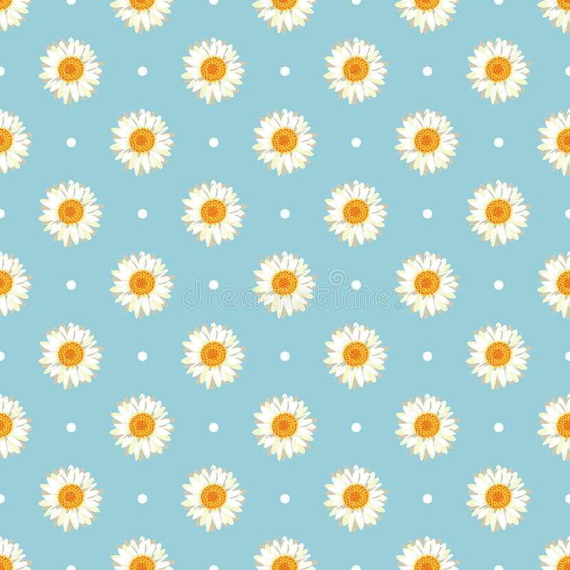 Chamomile seamless pattern. Daisies on blue polka dot background. Chamomile seamless pattern. Daisies on retro blue polka dot background. Vector illustration vector illustration