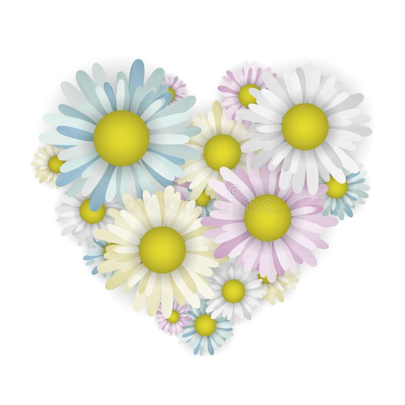 Chamomile in the shape of a heart. Vector illustration. Valentine day. Multicolored flowers stock illustration