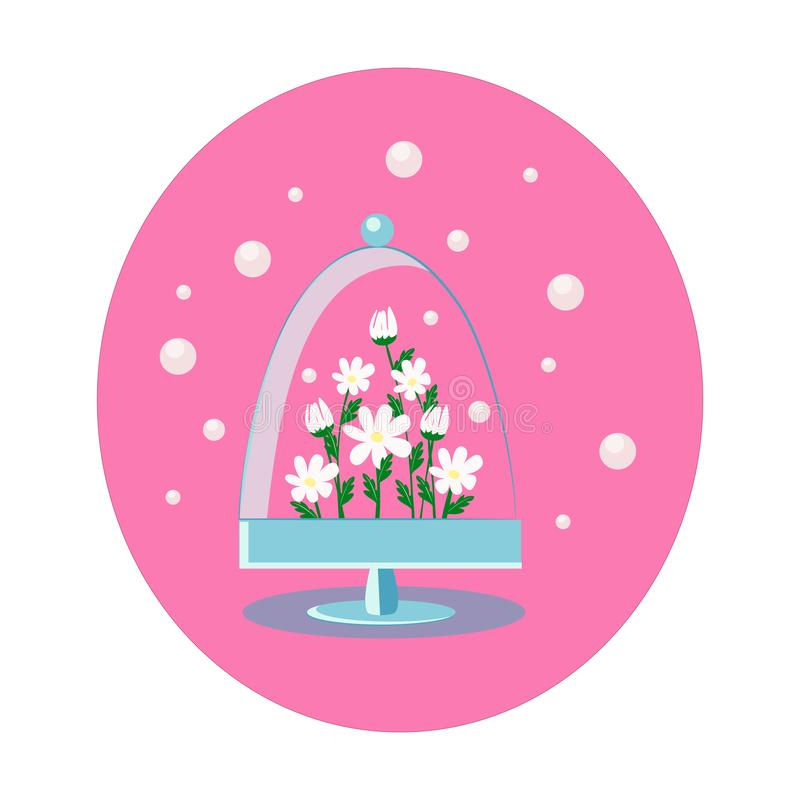 Chamomile under a glass dome royalty free illustration