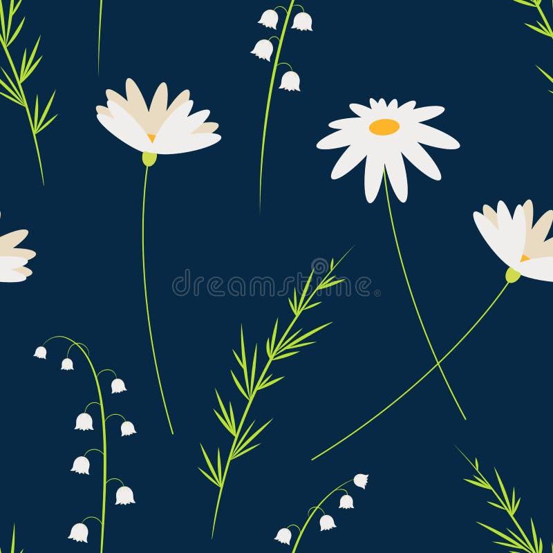 Διανυσματικά λουλούδια κινούμενων σχεδίων Chamomiles και κρίνος της κοιλάδας Άνευ ραφής floral σχέδιο Ύφος μόδας για τις τυπωμένε απεικόνιση αποθεμάτων
