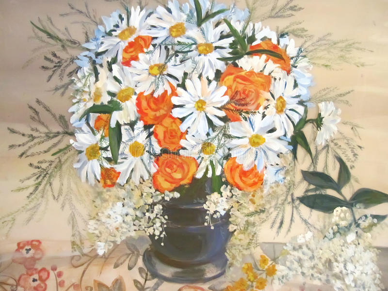 Chamomiles and orange flowers in vase painting. royalty free stock images