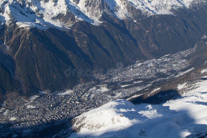Chamonix από Aiguille du Midi στοκ εικόνες
