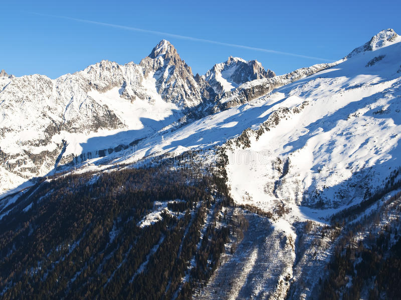 Download Chamonix Aguilles Lit By The Sun Stock Photo - Image: 26926260