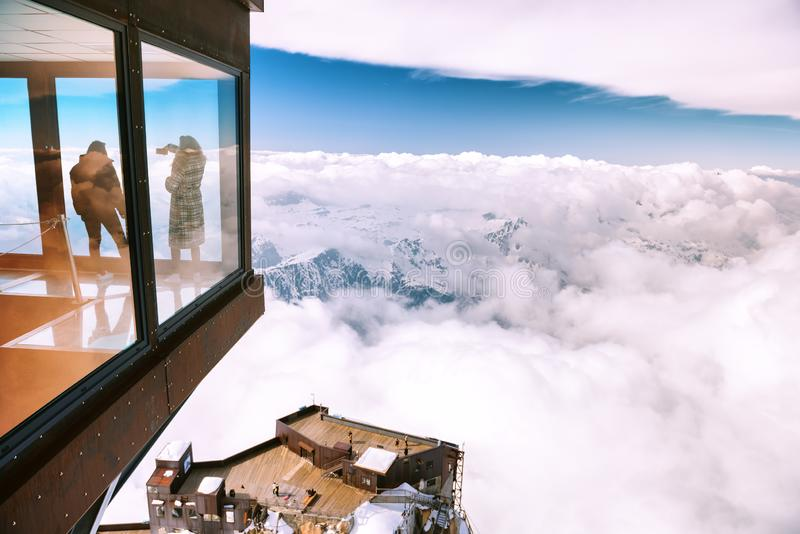 Chamonix, France - 4 April2019- Panoramic cube at Aiguille du Midi mountain in the Mont Blanc massif stock photography
