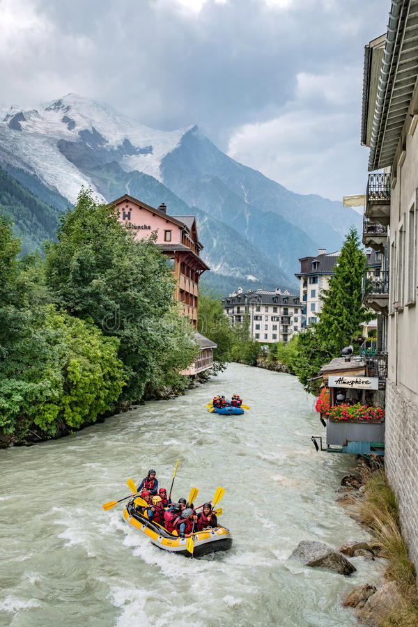 Chamonix, France - July 19, 2017: boats rafting through the town royalty free stock photo