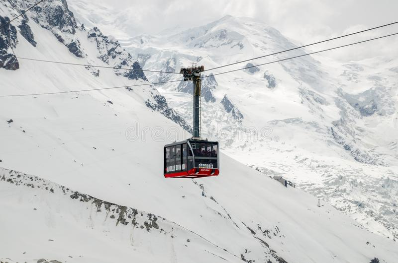 The cable car in the French Alps mountains. Mont Blanc massif, Aiguille du Midi. Chamonix royalty free stock photography
