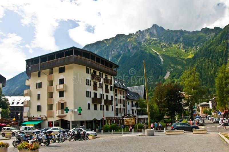 Chamonix Frankrike i sommar, område för station för kabelbil fotografering för bildbyråer