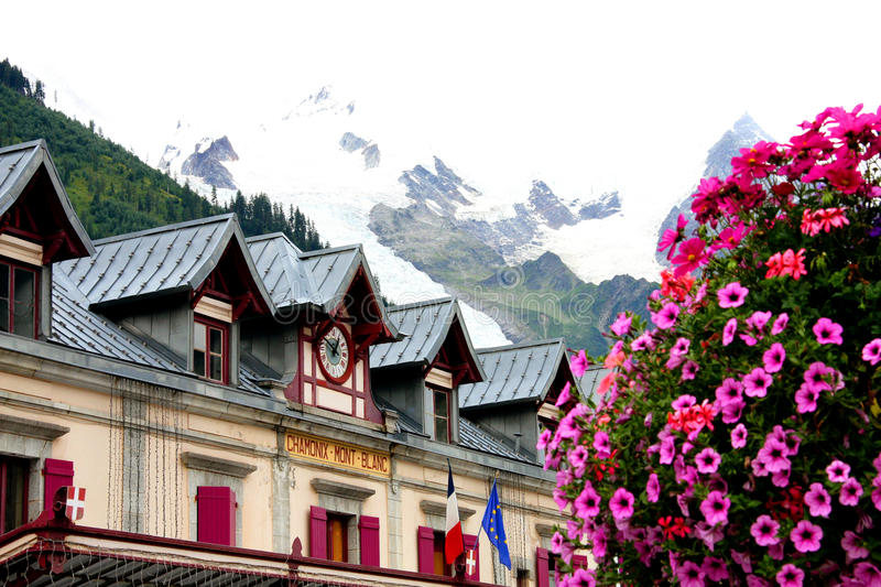 CHAMONIX-MONT-BLANC. The station in the city of Chamonix near the Mont-Blanc in the french Alps stock photos