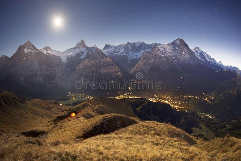 Chamonix night walk royalty free stock image