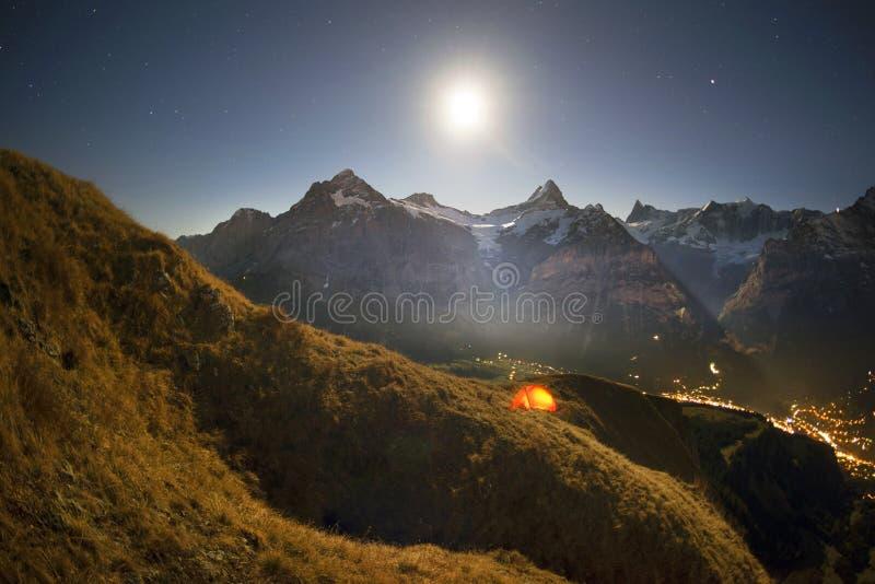 Chamonix night walk stock image