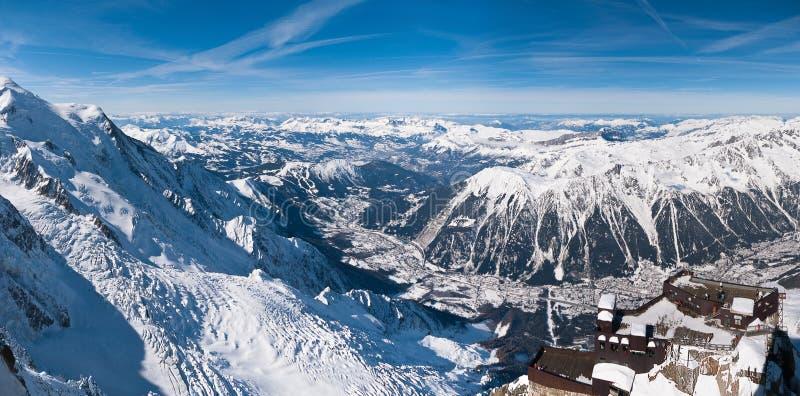 chamonix powietrzny widok panoramiczny dolinny zdjęcie stock