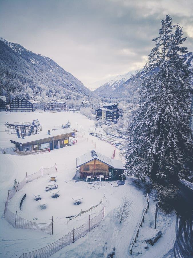 Chamonix snowy landscape with ski slope. France. royalty free stock image