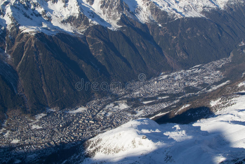 Chamonix van Aiguille du Midi stock afbeeldingen