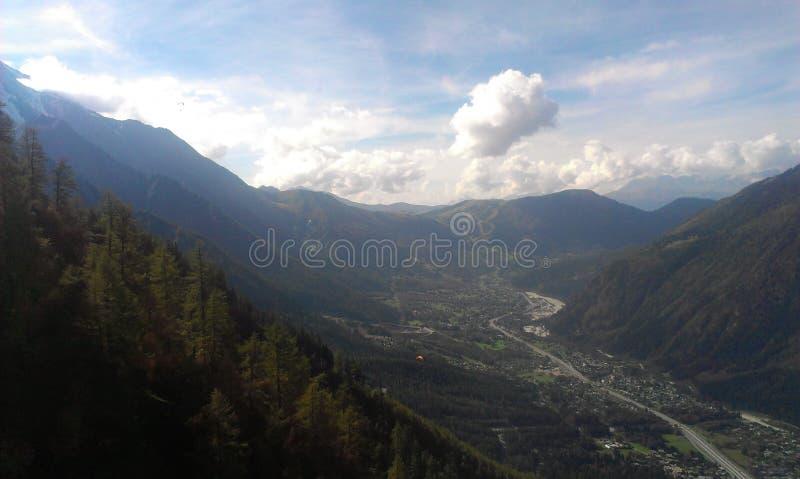 Chamonix vanaf de bovenkant royalty-vrije stock foto