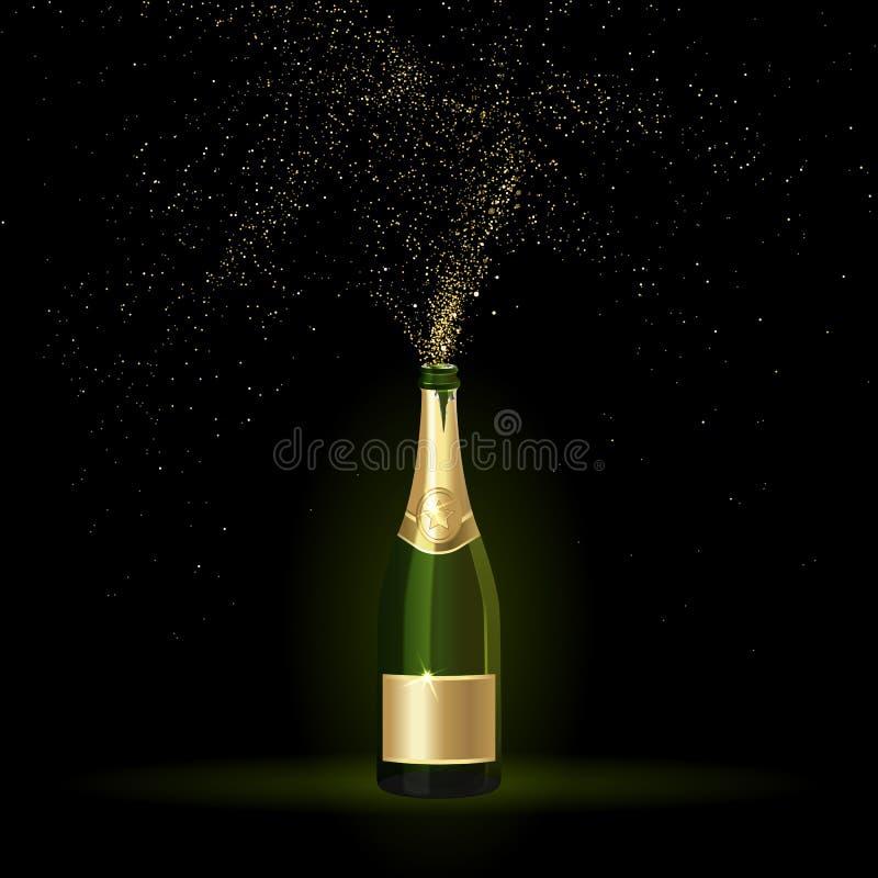 Champán con confeti del oro ilustración del vector