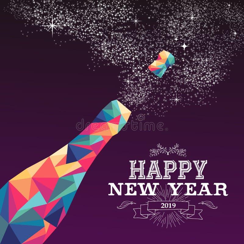 Champán del triángulo del color de la Feliz Año Nuevo 2019 stock de ilustración