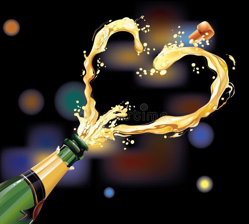 Champán para la celebración ilustración del vector
