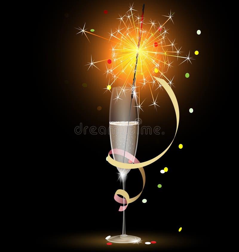 champán y sparkler ilustración del vector