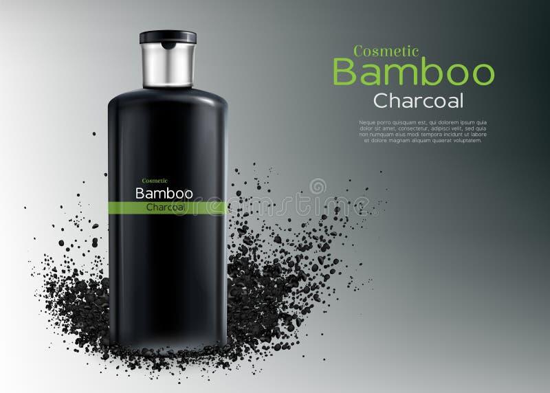 Champô do vetor com bambu, carvão vegetal Cartaz do anúncio ilustração royalty free