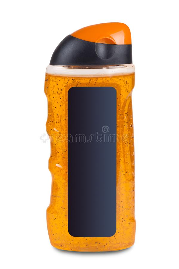 Champô, gel do chuveiro, loção ou espuma cosmética plástica alaranjada do banho imagens de stock