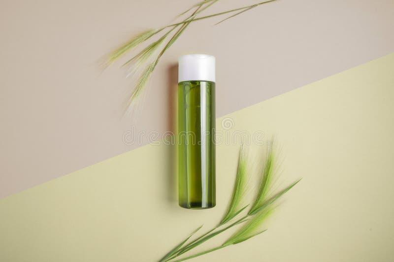 Champô natural para o cabelo e a pele Conceito de tratar o cabelo para a seca e a fragilidade Configuração lisa, minimalismo, cor foto de stock