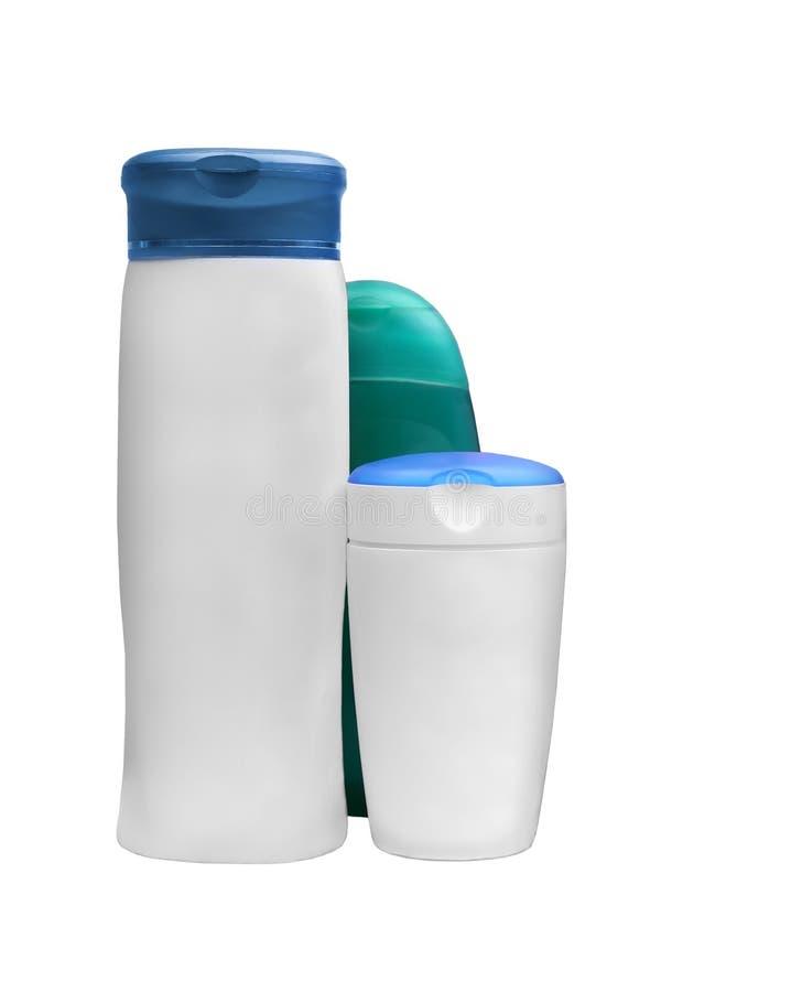 Champú genérico, botellas del acondicionador imagen de archivo