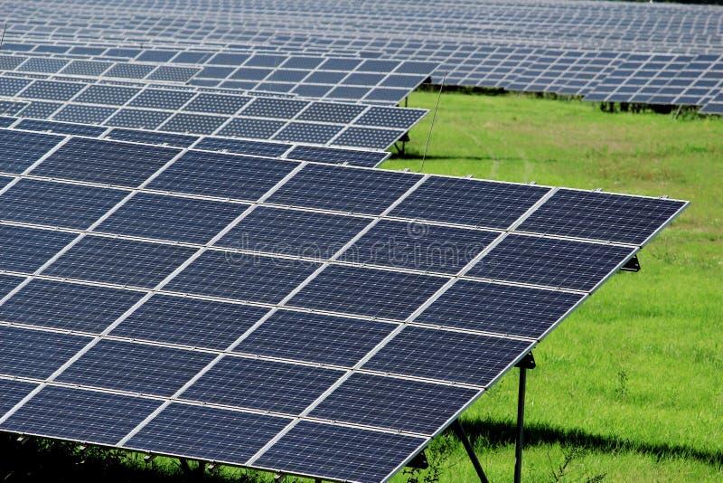 Champ énorme des panneaux d'énergie solaire sur le pré photographie stock libre de droits