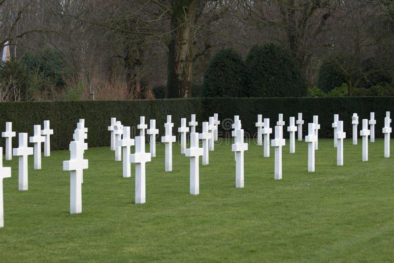 Champ américain Belgique Waregem de la Flandre de cimetière de Première Guerre Mondiale photographie stock libre de droits