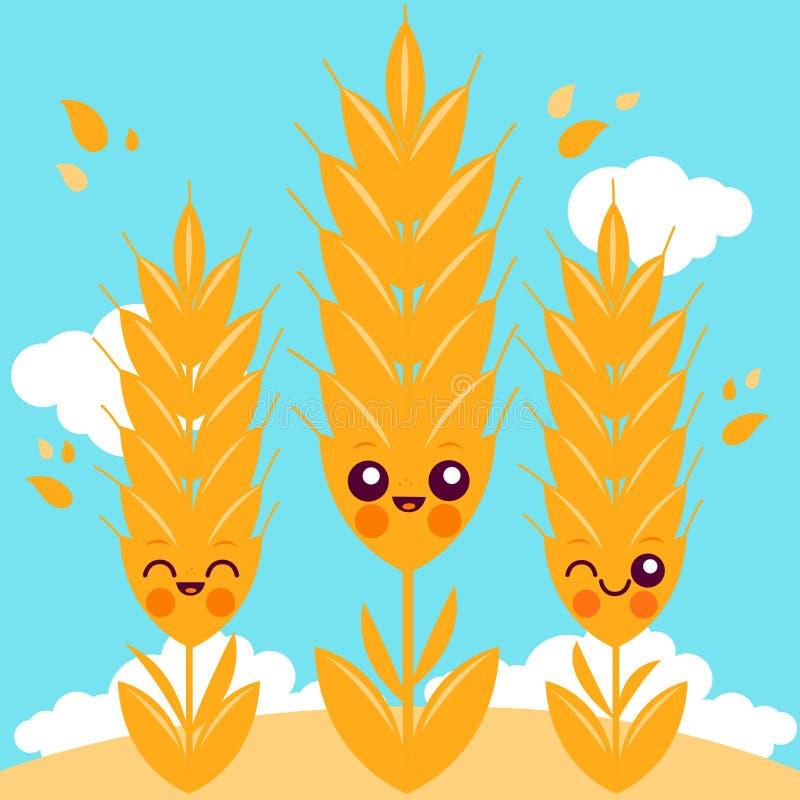 Champ avec des caractères de blé illustration libre de droits