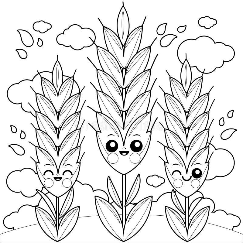 Champ avec des caractères de blé Page de livre de coloriage illustration stock