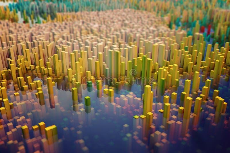 Champ coloré des colonnes de cube qui composent l'entité abstraite illustration stock