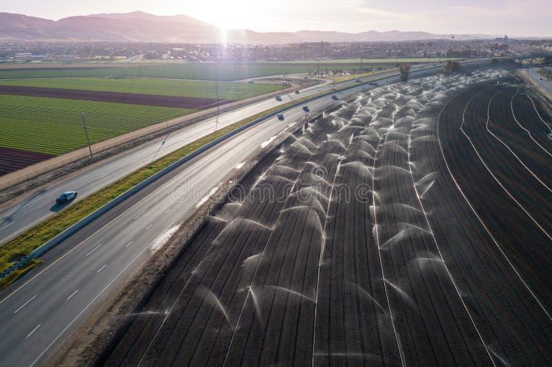 Champ d'agriculture d'irrigation en Californie, Etats-Unis photographie stock libre de droits